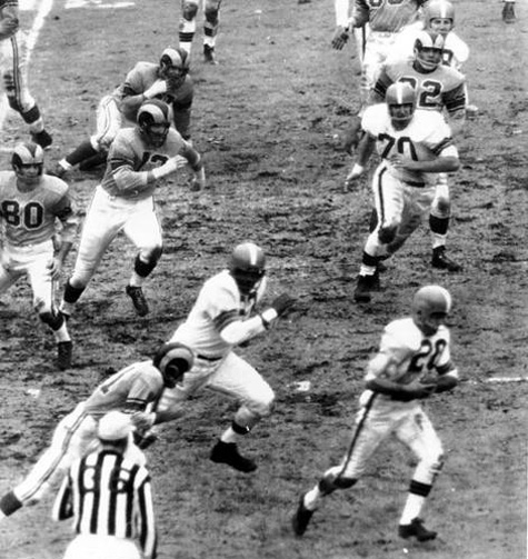 Don Paul Interception for a TD, Cleveland Browns at Los Angeles Rams, 1955 NFL Championship Game