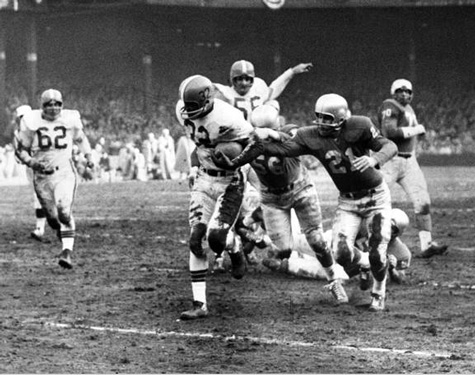 Jim Brown touchdown run, Cleveland Browns at Detroit Lions, 1957 NFL Championship Game