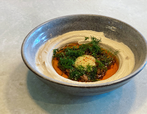 Zhug's curried lamb and apricot hummus: