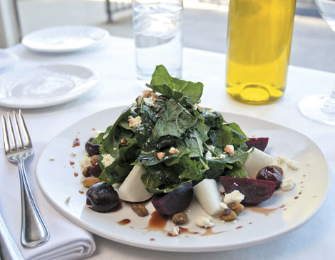 Ohio Cherry Salad with Roasted Beets, Summer Turnips and Toasted Pistachios