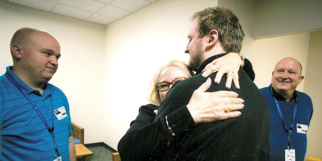 Carol Jaworski hugs her son Robert at Northcoast Behavioral Healthcare in April 2017