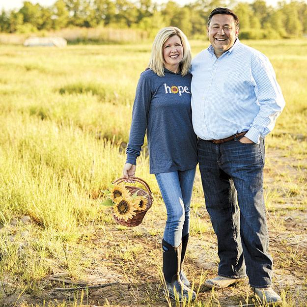 Megan and Ed McNamara in Maria's Field of Hope