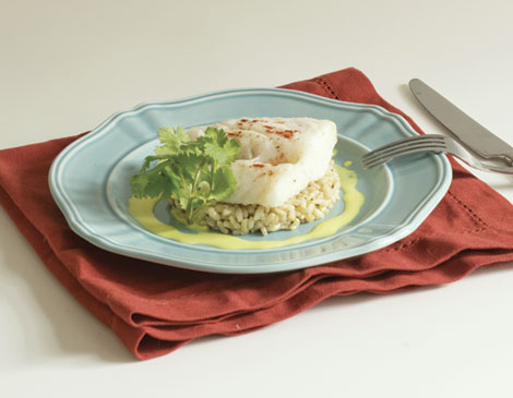 Spicy Creamy Cod with Honey Carrots & Brown Rice