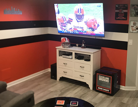 Browns-themed man cave