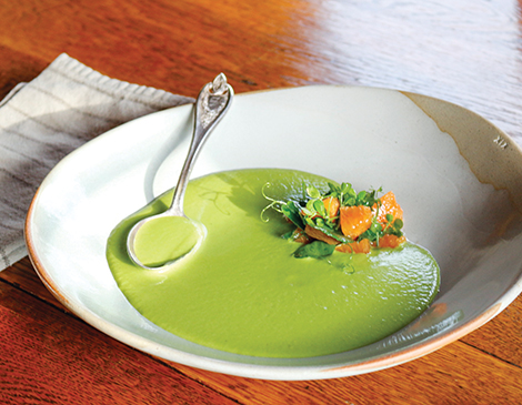 Asparagus Soup with Pea Tendrils