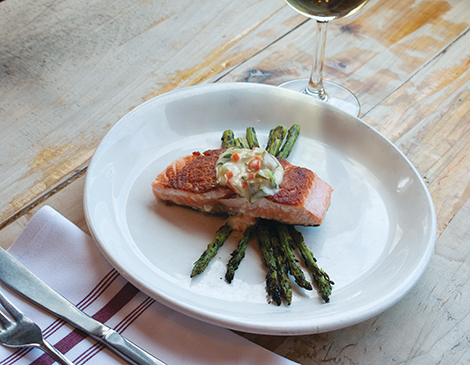 Pan Roasted Salmon with Grilled Curry Asparagus and Fermented Pickle Remoulade