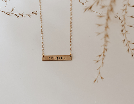 Custom Double-Sided Stamped Horizontal Bar Necklace