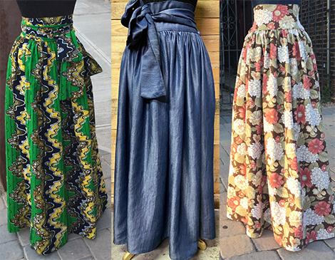DruChristine Fabrics & Design_Denim Tie Waist Maxi Skirt_Local Designers_Cleveland Ohio_Formal_Casual_Wear