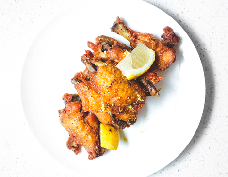 Lemon Pepper Crispy Confit of Chicken Wings