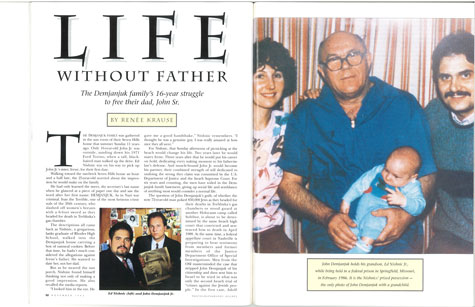 "A full-page scan of the opening spread of ""Life Without Father"" from the November 1992 issue of Cleveland Magazine."