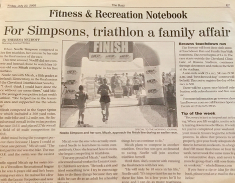 A local newspaper clip highlights Micah's success in local triathlons at age 10.
