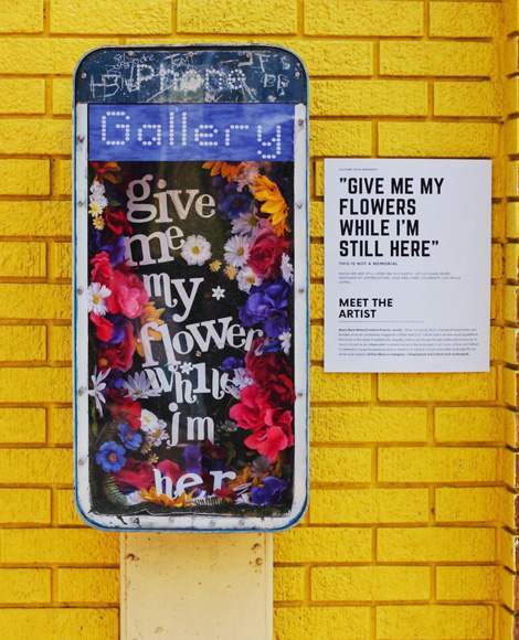 GIVE ME MY FLOWERS WHILE IM HERE, phone booth garden capsule by Alexis René Moten