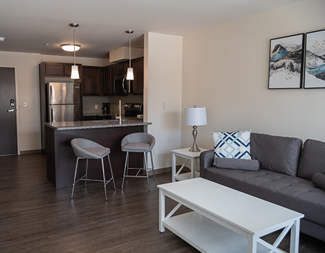 Glenville CircleNorth's 63 one- and two-bedroom apartments have modern amenities such as granite countertops and walk-in closets.