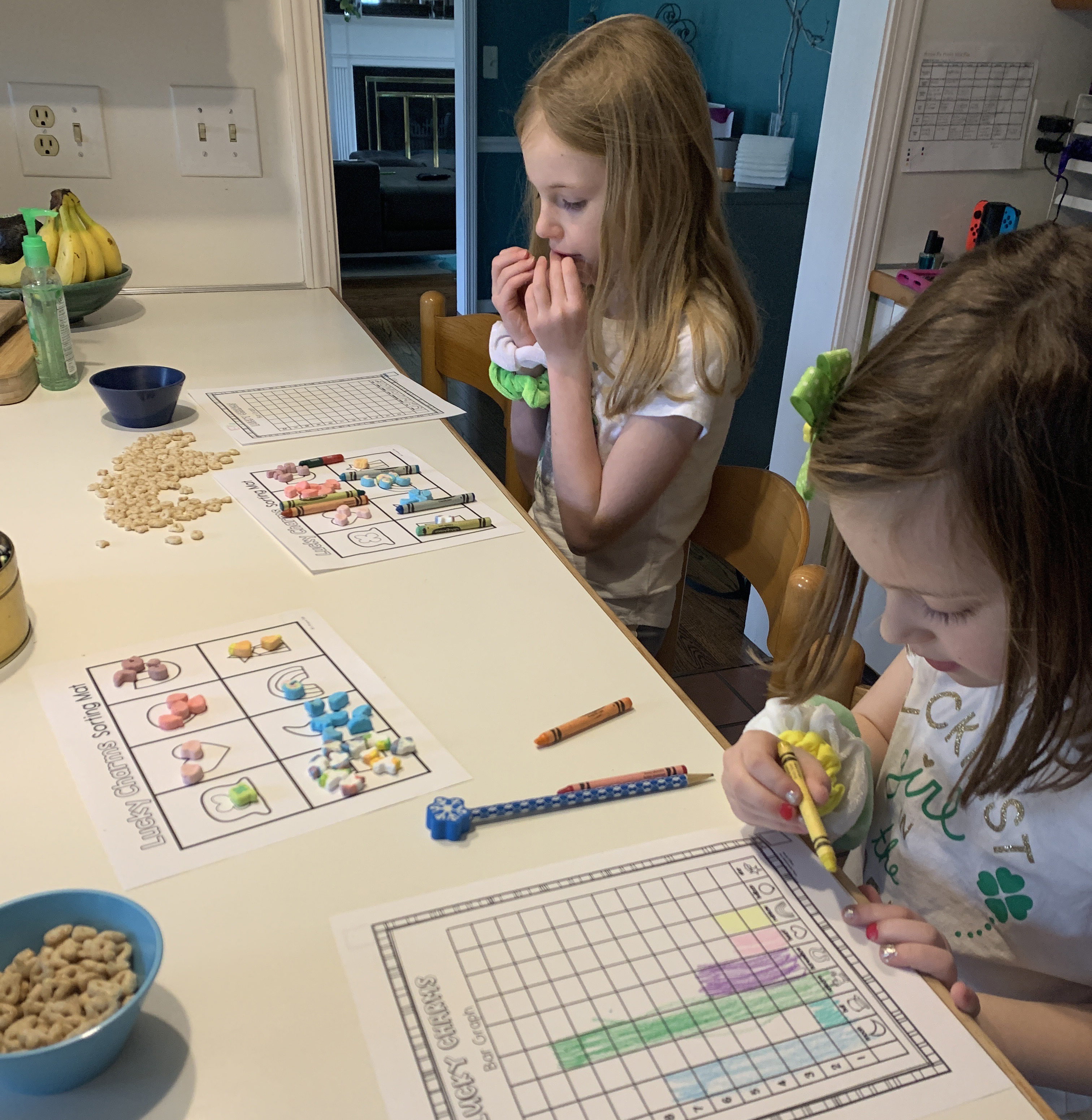 Jessica Troike creatively used Lucky Charms to teach her kids graphing.