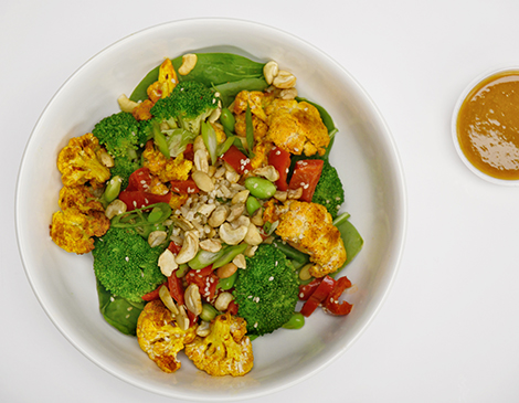 Kung Pao Cauliflower and Broccoli Bowl