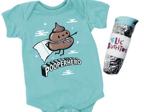 """One of the most popular designs is the """"Pooperhero"""" onesie ($18), a character based off of babies' second favorite activity after sleeping."""