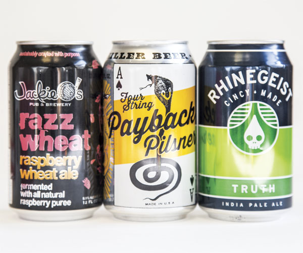 Payback Pilsner, Razz Wheat, Rhinegeist Truth IPA