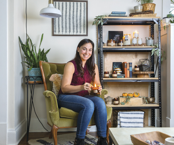 Sarah Sampsell pours all her Sweet Dish & Darling candles by hand.