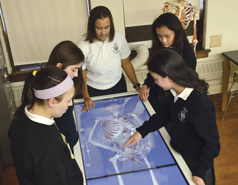 Students at St. Joseph Academy work together on an Anatomage Table, which visualizes the anatomy of the human body.