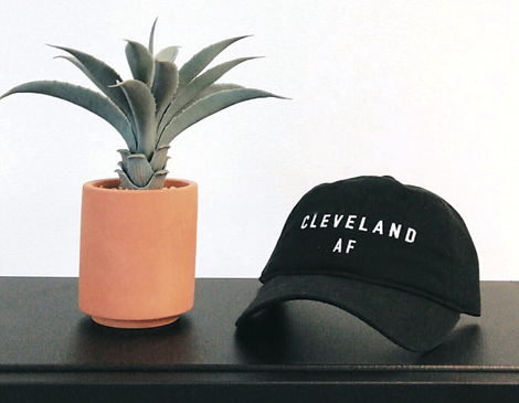 "The clothing line is ""Cleveland AF"" and made from thrifted clothes."